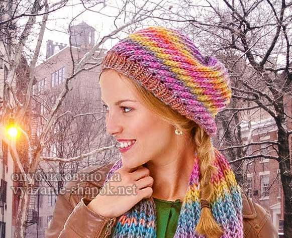 Комплект спицами шапка и шарф для ярких женщин