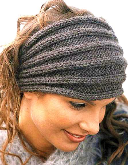 повязки на голову спицами вязание шапок модные и новые модели
