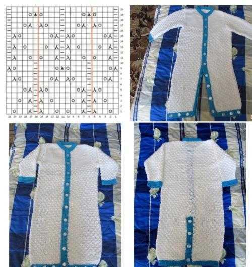 新生児の編み針のために編まれたジャンプスーツ。スキームと説明、新モデル