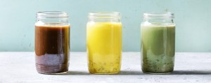 Shows three different kinds of iced drink