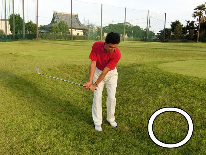 ゴルフお役立ち情報「芝生の抵抗が強いラフからのピッチショット」