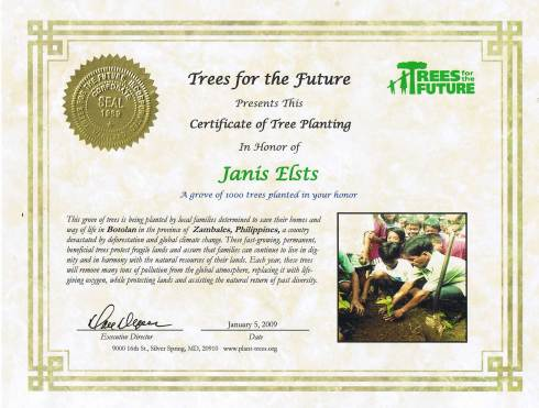 Trees For The Future certificate