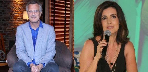 Os apresentadores Pedro Bial e Fátima Bernardes