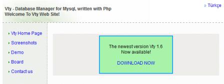 Vty - Database Manager for Mysql