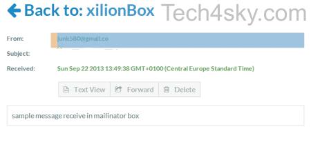 Mailinator sample message view