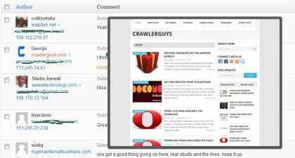 Website screenshot in WordPress comment