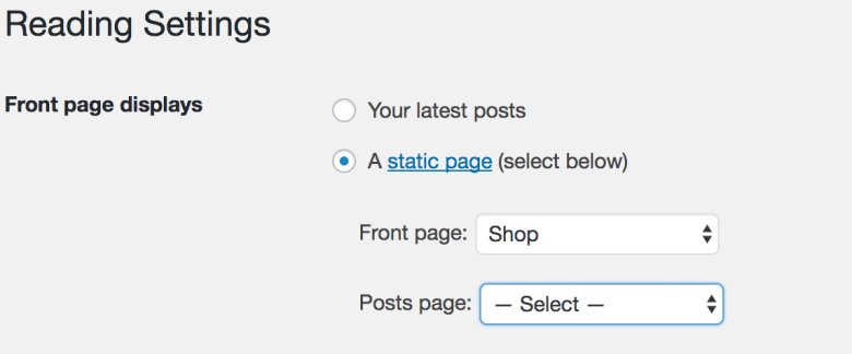 WooCommerce  Front page displays settings