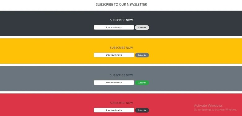 Basic Newsletter Subscription Form In Bootstrap 4