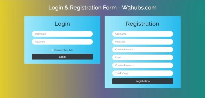 Gradient Color Login And Registration Form In Bootstrap 4