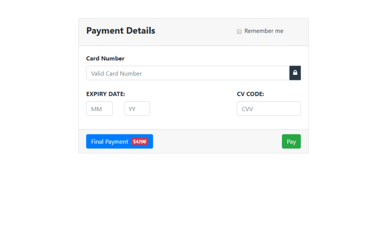 Payment Interface In Bootstrap 4 | W3hubs com