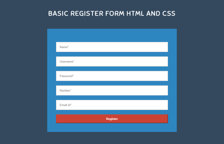Responsive Registration Form Using Html and CSS
