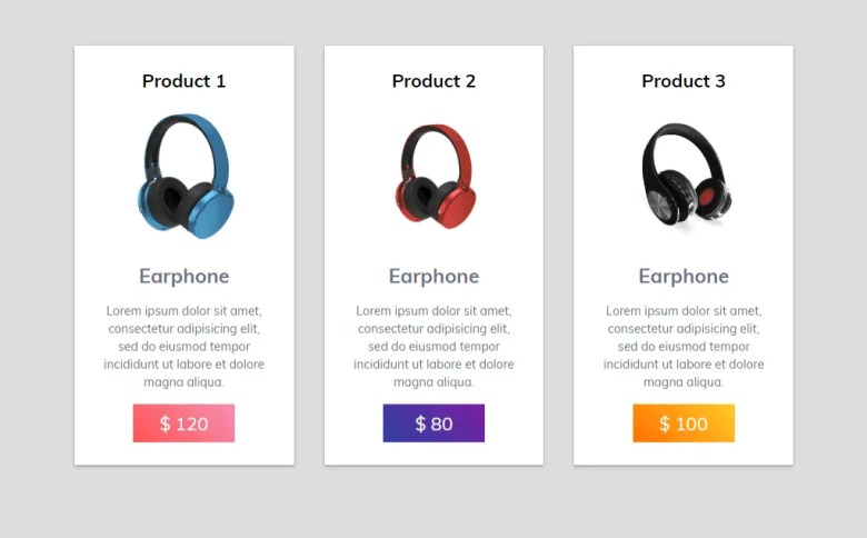 Earphone Cards UI Using CSS