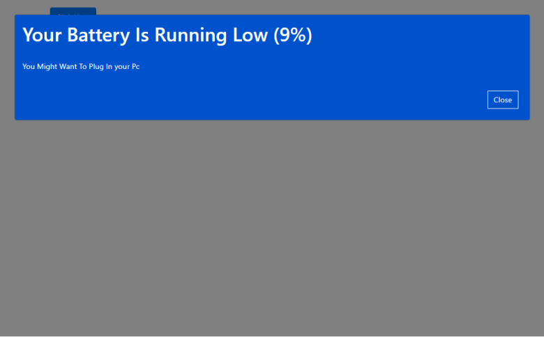 Windows 10 Battery Low Modal In Bootstrap 4
