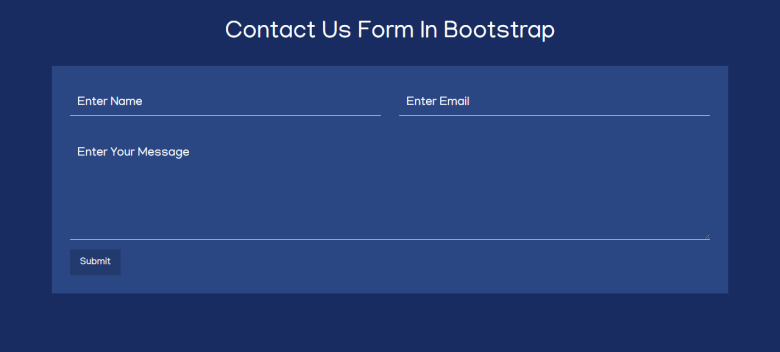 Contact Us Form In Bootstrap 4