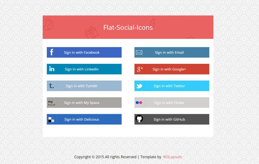 Flat Social Media Icons Widget Template By W3layouts