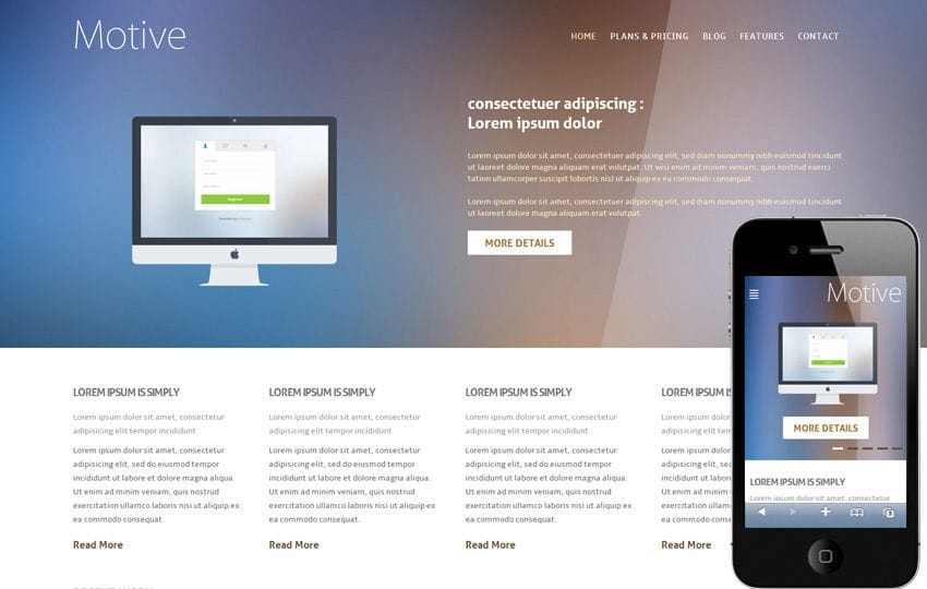 250 free responsive html5 css3 website templates motive is a free glossy flat corporate responsive web design template you can use this template for any kind of website we build this web template in pronofoot35fo Choice Image
