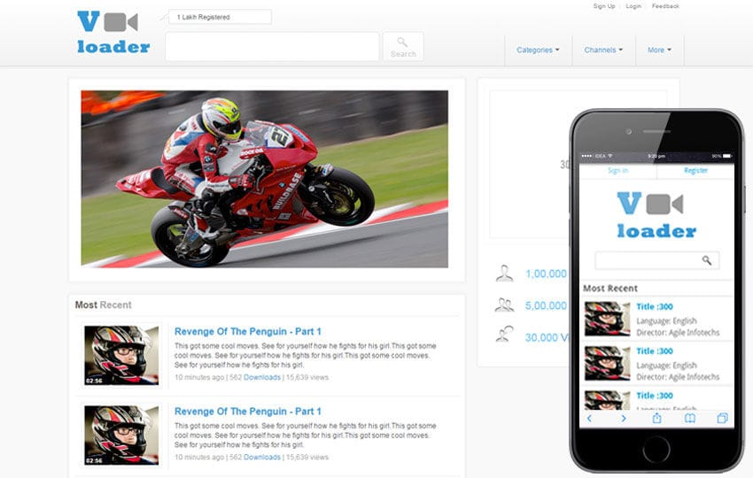 Vloader Free Youtube Like Mobile Website Template By