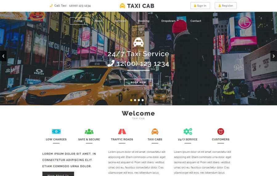 Autos and Transportation Mobile website templates Taxi Cab Flat Bootstrap Responsive Web Template Mobile website template Free