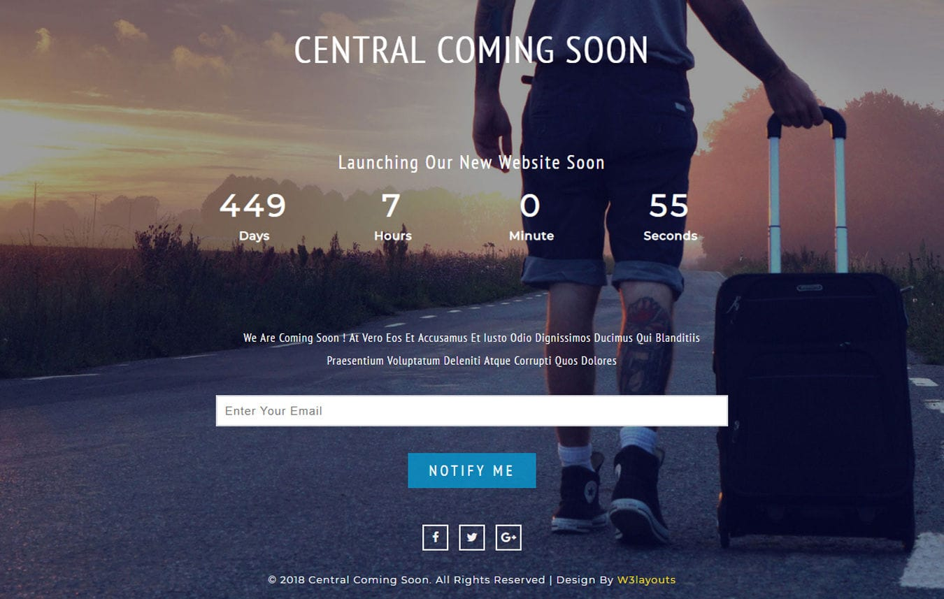Free Responsive Mobile Website Templates Designs   w3layouts com Central Coming Soon