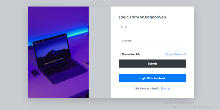 login form with side image using bootstrap