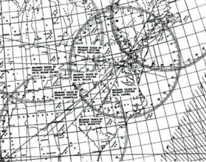 Plot of bearings taken by RID monitoring stations showing the location of a clandestine transmitter in Washington, DC on December 9, 1941, two days after Pearl Harbor.
