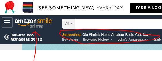 Amazon smile web page