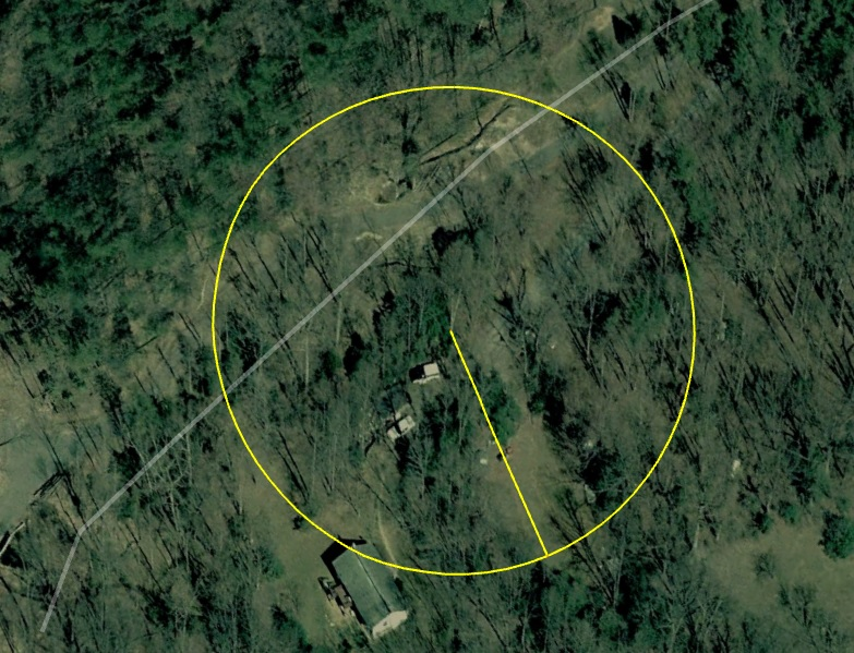 a pre-shack 2006 satellite image showing an approximate 134ft radius from the exact tree that got hit