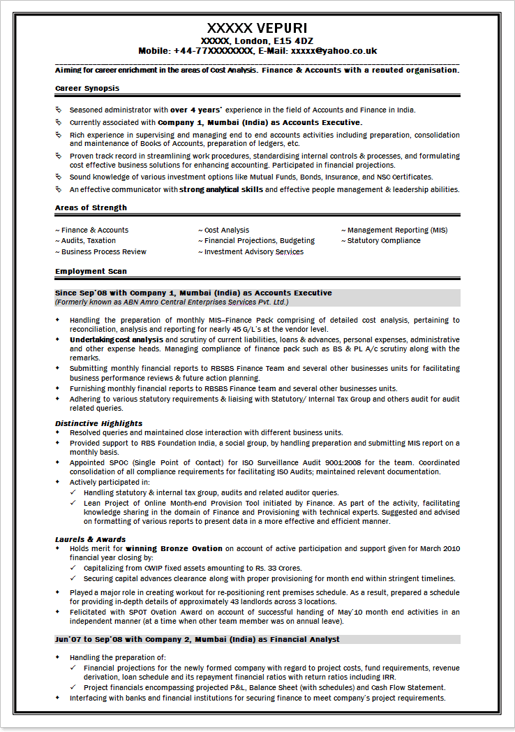 mba finance resume samples template
