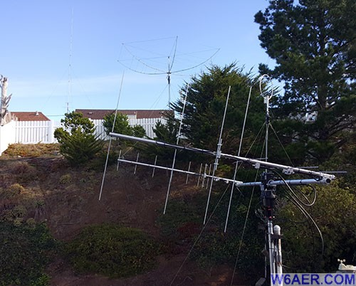W6AER Antenna Farm, hexbeam, LEO satellite and vertical