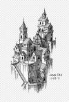 Menggambar Sketsa Kota Fantasi Gambar Format File Bangunan
