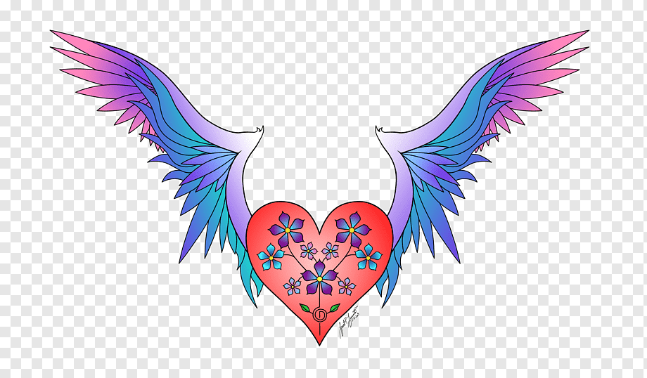Heart Wings Haerts Color Drawing Abstract Paintings Fictional Character Feather Purple Heart Png Pngwing
