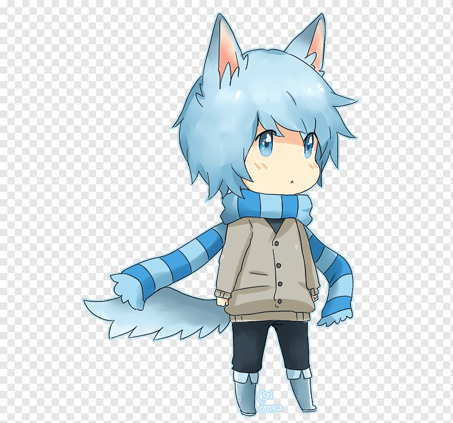 Anime Male Blue Hair Wearing Headphones Mammal Child Cat Like Mammal Png Pngwing