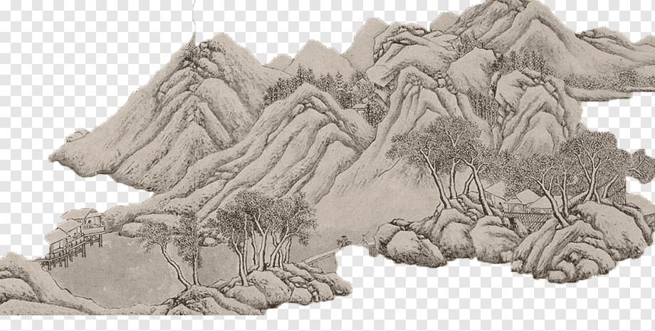 Shanshu Tinte Waschen Malerei Chinesische Dekoration Berg