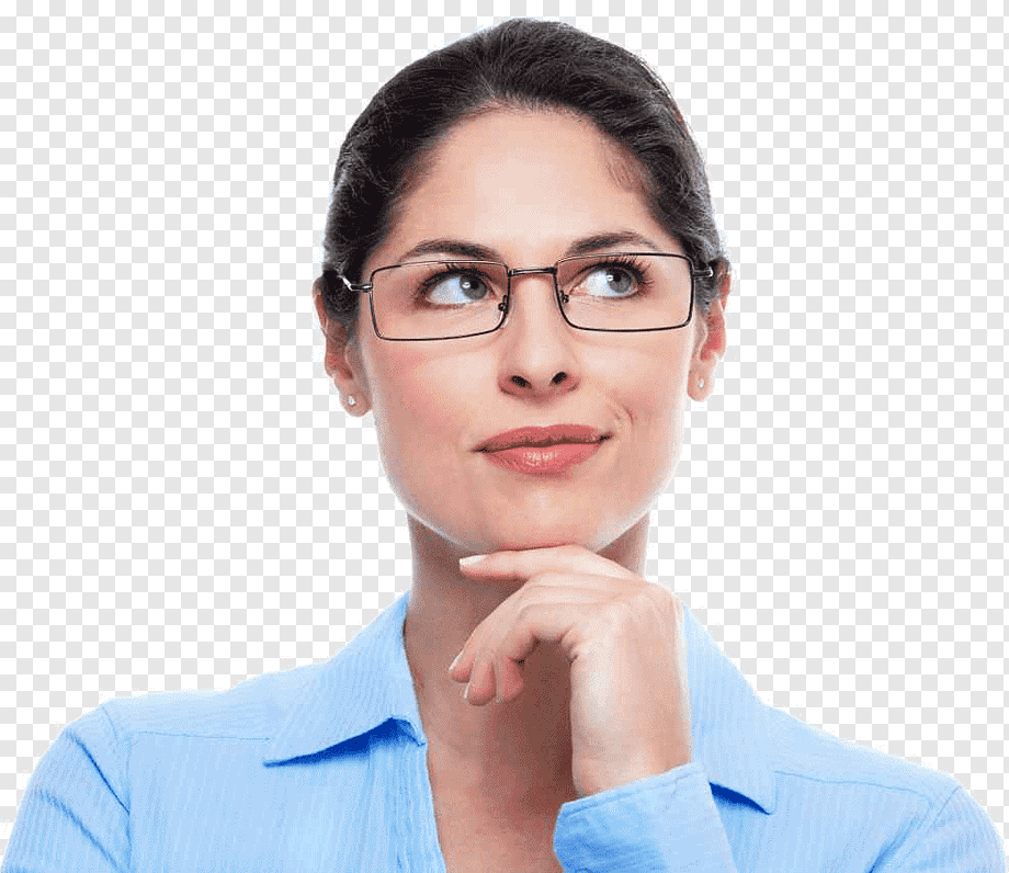 Woman Wearing Eyeglasses Looking Up Woman Thought Thinking Woman
