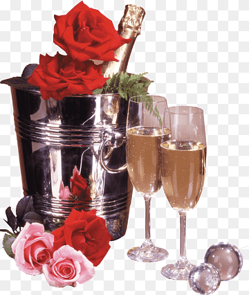 Happy Birthday To You Wish Flower Bouquet Party Champagne Glass Wine Glass Wish Png Pngwing