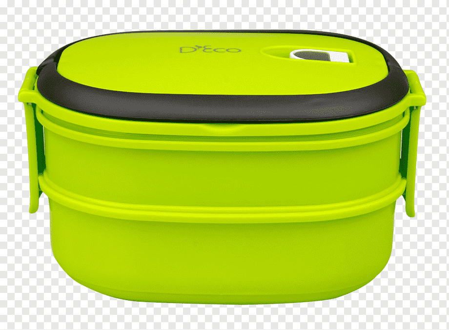 oval green plastic container with lod