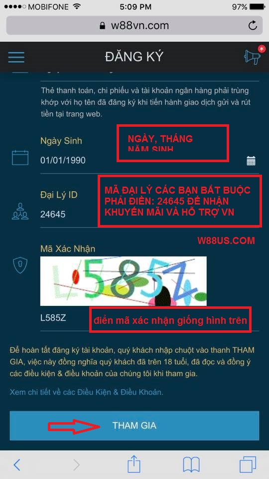 hướng dẫn đăng ký w88 và nạp tiền trên điện thoại di động 3
