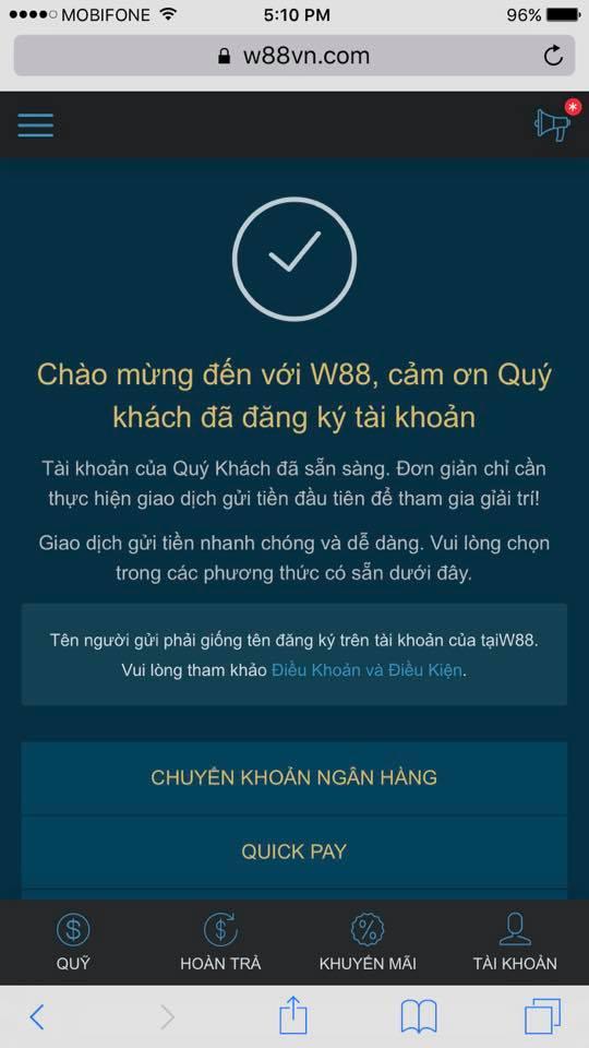 hướng dẫn đăng ký w88 và nạp tiền trên điện thoại di động 4
