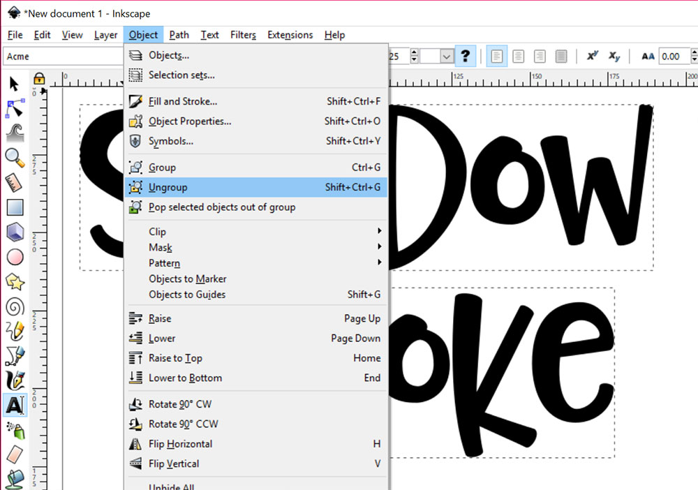 Shadow Font Inkscape