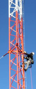 Photo of tower climber on tower