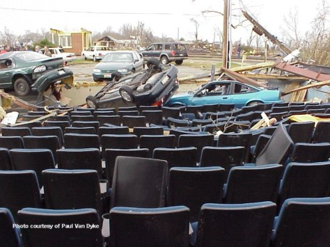 Photo of damaged cinema from 2002 tornado in Van Wert, Ohio
