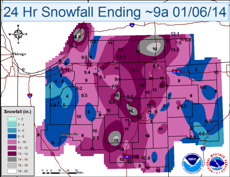 Map showing snowfall for period enging 9 a.m. Jan. 6.