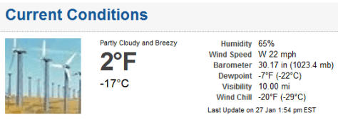 Screen shot showng weather at Ft. Wayne airport, 1:54 p.m. EST