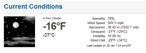 Screen shot of NWS web page showing conditions at 7:54 a.m. EST