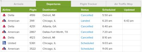 Screen shot of flight status at Ft. Wayne Int'l