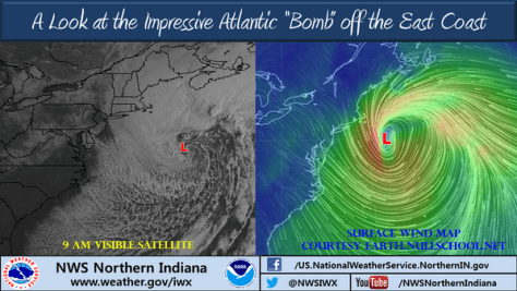 NWS graphics on New England meteorological bomb
