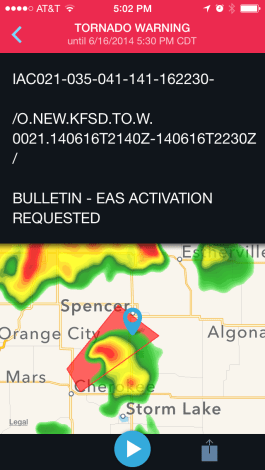 Sample warning as displayed by Weather Radio app. Image provided by WDT