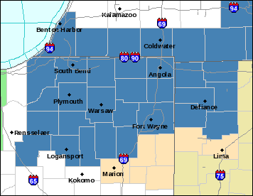 Map showing counties covered by winter storm watch, special weather statement