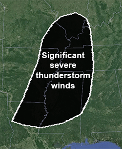 1300Z Day 1 convective outlook sig. wind map