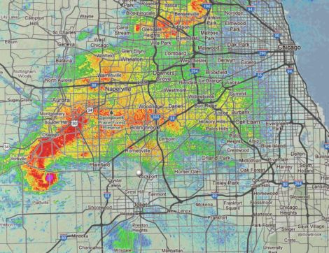Simulation of a supercell thunderstorm radar image over map of Chicagoland.